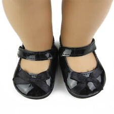 Fashion Doll Shoes Fits 18'' American Girl Doll Black Leather Shoes Reborn Dolls
