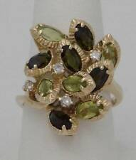14K YELLOW GOLD MARQUISE PERIDOT GREEN TOURMALINE DIAMOND CLUSTER RING 8 1/2