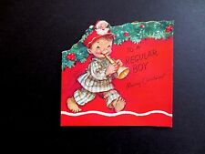 #K766- Vintage Unused Marjorie M Cooper Xmas Greeting Pop Out Card of Little Boy