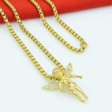Women Men 4mm18''Stainless Steel Square Rolo Gold Necklace and Angle Pendant Set