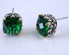 Balinese Designer Emerald Green CZ Filigree Silver Gold 18KGP Earrings
