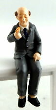 Dolls House Miniature 1:24 Scale People Resin Figure Sitting Old Man in Suit