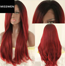 """24"""" Heat Resistant Lace Front Wig Straight Ombre Color Bug With Black Roots"""