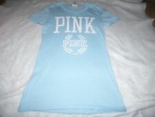 VICTORIA'S SECRET PINK LARGE TEE TOP LOGO LT. BLUE / WHITE  NEW NWT