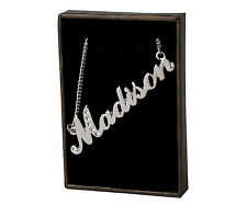 "Name Necklace ""MADISON"" - 18ct White Gold Plated - Swarovski Elements - Stylish"