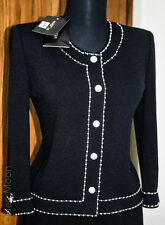NEW ST JOHN EVENING BLACK/ rhinestones &Pearl TRIM JACKET SZ 2