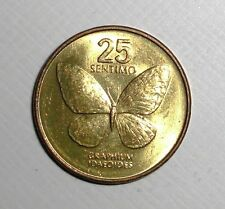 Philippines 25 sentimos, Butterfly, insect, bug, animal wildlife coin. 16mm.