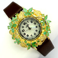 Alluring Fancy Natural AAA Translucent Natural Emerald 925 Sterling Silver Watch