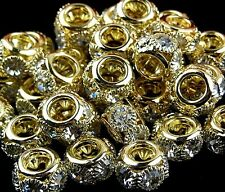 Exquisite Plated Gold with Diamond Rond Ring 10mm Spacer Jewellery beads ZL013
