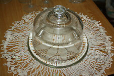 Heavy Clear Glass Cheese Plate with Dome Cover