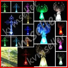 Solar Powered Cross and Fiber Angel Garden Yard Stake Path Lawn Light LED Sun i