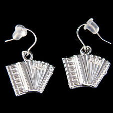 w Swarovski Crystal Bass Piano ~Accordion Squeezebox Folk Music Musical Earrings