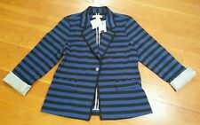 NWT Womens ELLEN TRACY Black/Blue Stripe Roll Sleeve Blazer Jacket Size Large L