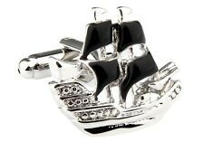 Sailboat Cufflinks Black Sails Boat Ship Wedding Fancy Gift Box Free Ship USA