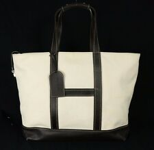 HOGAN Off-White Canvas & Dark Brown Leather Extra Large Tote Bag