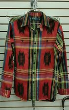Polo Ralph Lauren Men's Red Aztec Indian Blanket Button Down Shirt Size S Small