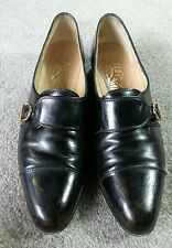 Salvatore Ferragamo Black Leather pointed Toe Buckled Loafers Size 7 1/2 7.5