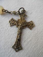 Ancien chapelet en perles de nacre et croix argent