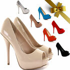 WOMENS LADIES PEEP TOE PEEPTOE PLATFORM PUMPS HIGH HEEL PARTY COURT SHOES SIZE