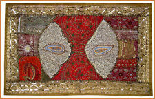 SEQUIN BEAD ZARI WORK HAND EMBROIDERED ANTIQUE WALL TAPESTRY/THROW FROM INDIA