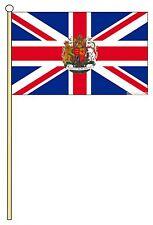 """UNION JACK WITH ROYAL CREST 18"""" x 12"""" LARGE HAND WAVING COURTESY FLAG & POLE"""