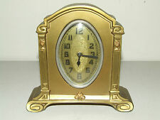 Antique Working 1920's Art Deco Gold Gilded Mantel Shelf Clock