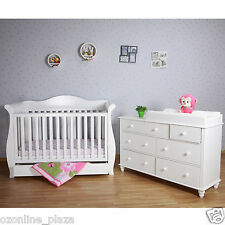 White Delux Sleigh Cot and 7 drawer Dresser Chest of Draw Change Table Package