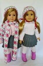 "Doll Clothes AG 18"" Skirt Blouse Sweater Hat Scarf Made For American Girl Doll"