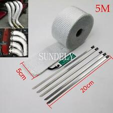 SUNDELY 50MM x 5M HEAT WRAP TAPE CERAMIC FIBER EXHAUST MANIFOLD WHITE