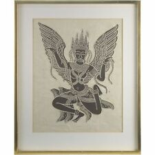 Framed Original Vintage Monochrome Woodblock Print Winged Indonesian Dancer