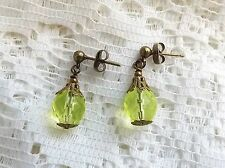 Uranium glass crystal drop earrings . yellow bead bronze tone handmade jewellery