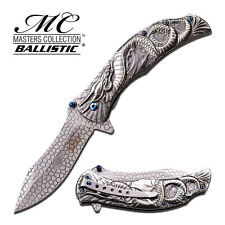 "8.25"" SILVER DRAGON SPRING ASSISTED FOLDING KNIFE Blade pocket open switch"