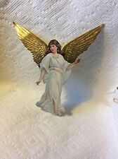 OLD GERMAN DRESDEN  AND PAPER ANGEL CHRISTMAS ORNAMENT-RARE