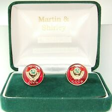 RUSSIA cufflinks made from  CCCP Russian coins in RED & Gold & Colours 19mm