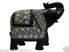 "18"" Black Marble Indian Elephant Mother of Pearl Semi Stone Handmade Decor H526"