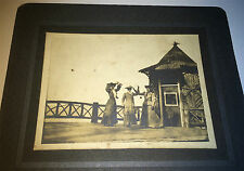 Antique American Fashion Dressed Women On Pier & Wood Hut! Outdoor Cabinet Photo