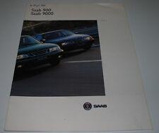 Auto Prospekt Saab 900 + Cabrio / 9000 CD CS Trionic Autoprospekt Stand 1994!