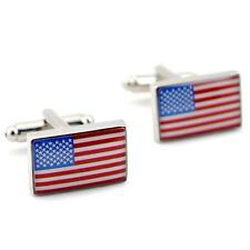 AMERICAN FLAG CUFFLINKS Patriotic USA Color NEW w GIFT BAG Pair Men's Accessory