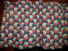 Red Cherries Fruit Blue Polka Dot waverly fabric curtain window topper Valance