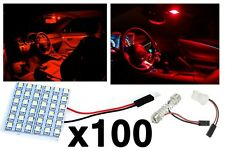 100x T10 Festoon 36-SMD Plasma Red LED Panel Interior Dome Map Replacement Light