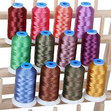 COLOR TWIST POLYESTER MACHINE EMBROIDERY THREAD SET - 12 COLORS - 1000M SPOOLS
