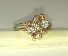Vintage Bark Design Bypass Diamond Ring, 14Kt Gold and Diamonds