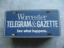 WORCHESTER TELEGRAM GAZETTE MASSACHUSETTS MA DEALERSHIP BOOSTER LICENSE PLATE