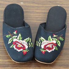 Pair of Embroidered Floral Rose Chinese Women Slippers in Black Size 34 New