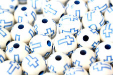 50pc 10mm Blue & White Loose Beads-Acrylic Cross beads 1-3 day Shipping