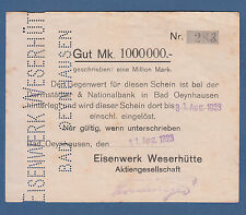 Bad OEYNHAUSEN Eisenwerk Weserhütte 1 Million Mark 11.8.1923  III / VF