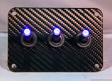 3 HOLE Carbon Fiber 3D WRAP w/ LED toggle switches - BLUE