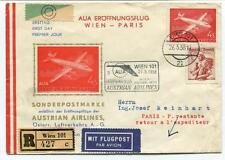FFC 1958 Austrain Airlines First Flight Wien Paris REGISTERED Repubik Osterreich