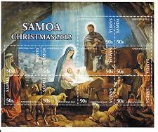 Samoa 2012 MNH Christmas Nativity 10v M/S Baby Jesus Mary Art Paintings Stamps