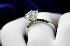 .5 Carat Diamond Engagement Womens Ring Round Cut 14K White Gold Enhanced 6.5
